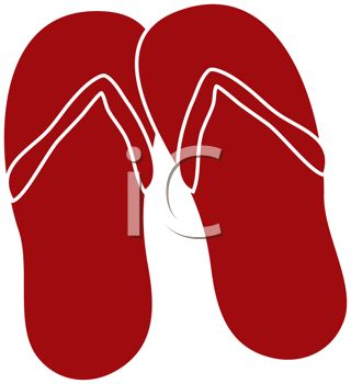 320x350 Picture Of A Pair Of Red Flip Flop Sandals In A Vector Clip Art