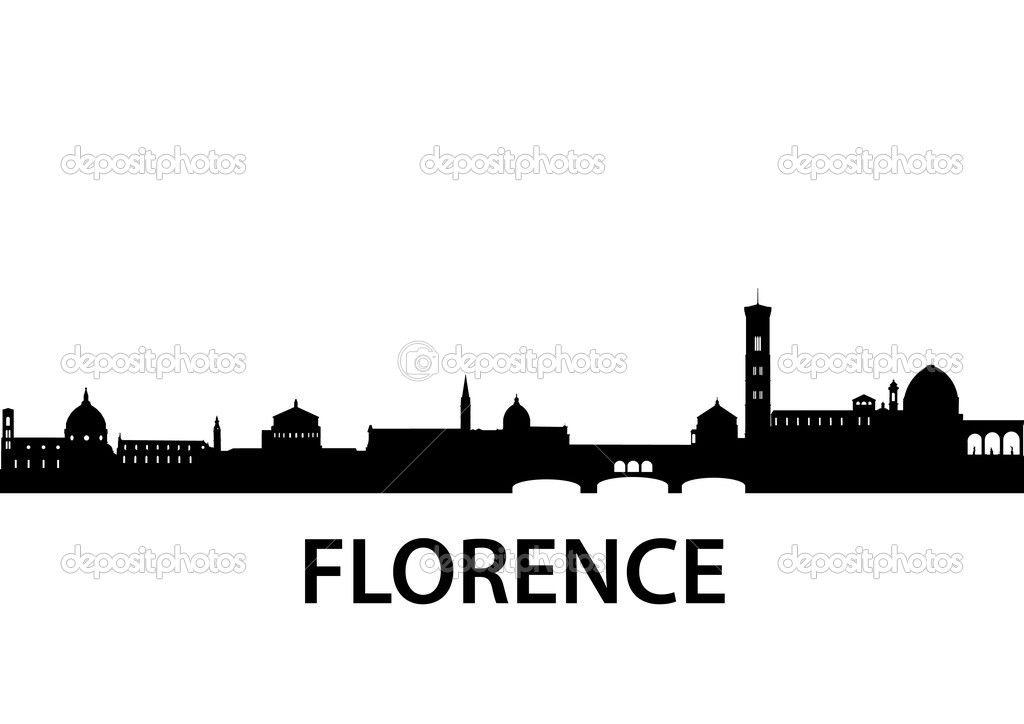 1024x724 Skyline Florence Vettoriali Stock