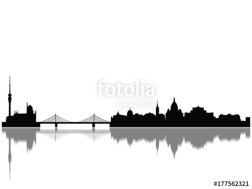 500x375 Detailed Dresden Monuments Skyline Silhouette Stock Photo