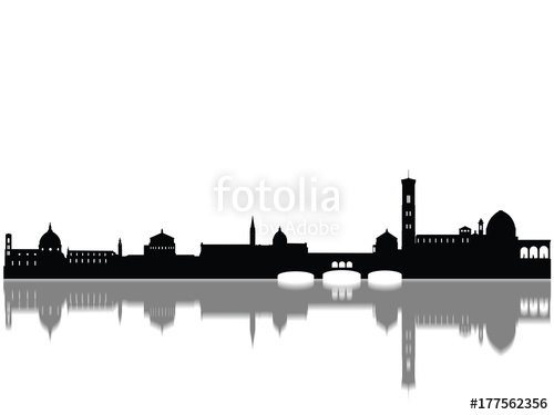 500x375 Detailed Florence Monuments Skyline Silhouette Stock Photo