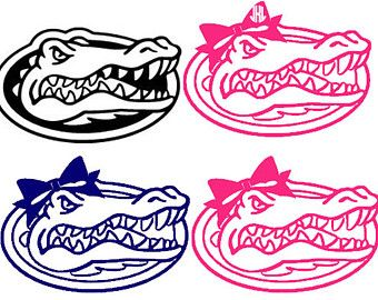 340x270 Florida Gator Decal Sticker With Bow And Monogram Go Gators