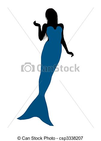 337x470 Little Mermaid Silhouette Illustration. Little Mermaid Stock