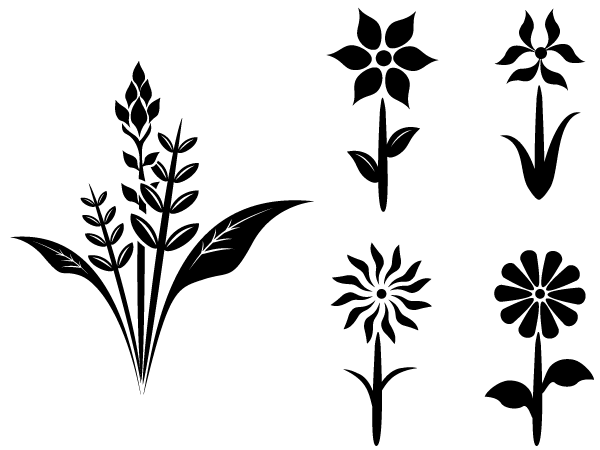 600x450 Free Flower Plant Vector Silhouettes, Vector