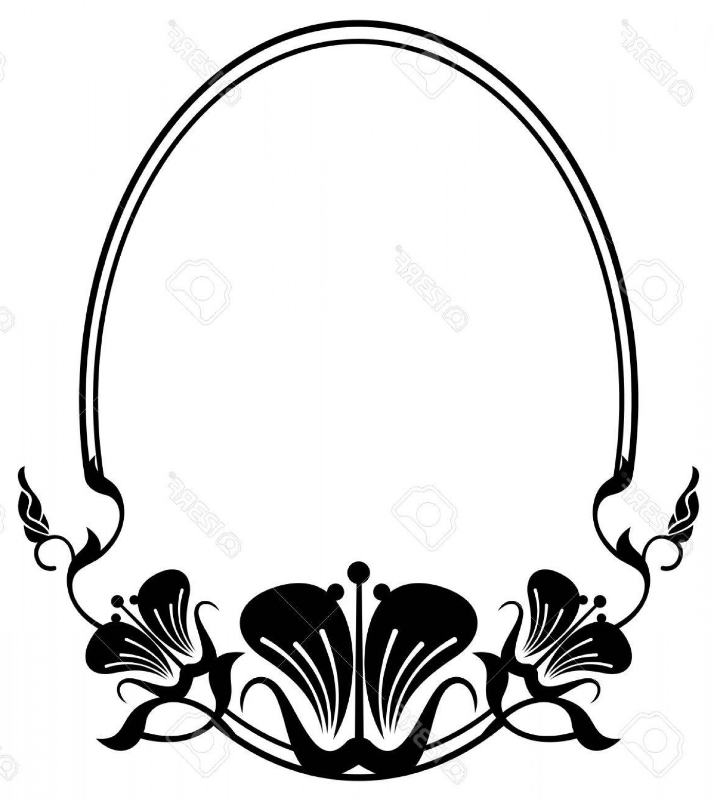 1396x1560 Photostock Vector Silhouette Oval Frame Abstract Black And White