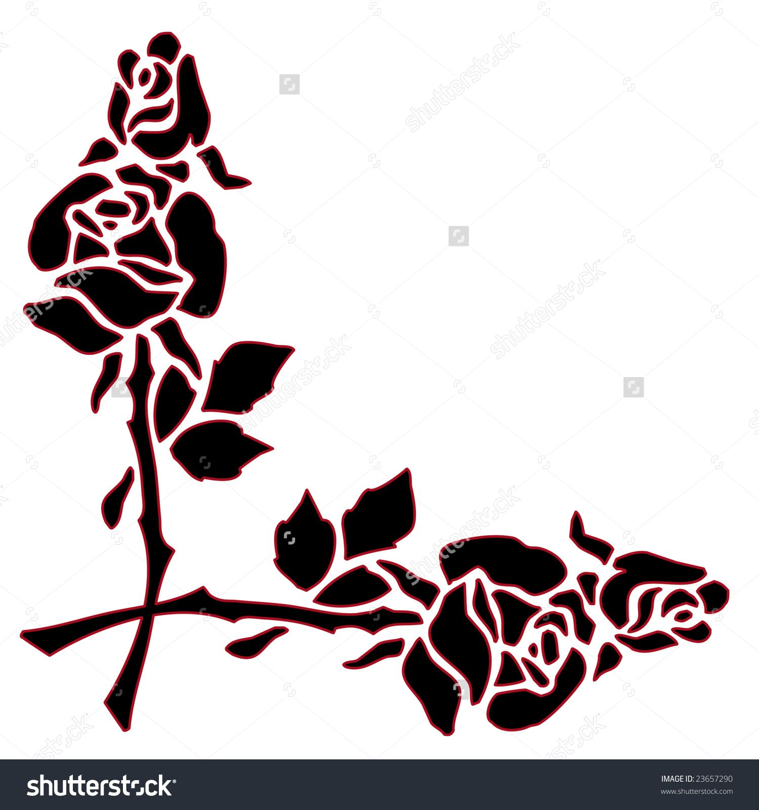 1500x1600 Black Silhouette Of Rose Flowers Outlined With Red As A Border