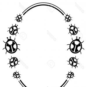 300x300 Stock Vector Black And White Oval Frame With Decorative Flowers