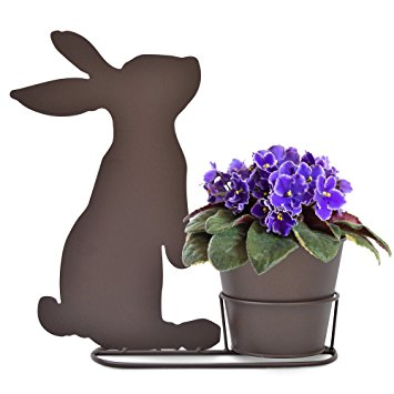355x355 Silhouette Rabbit Standing Plant Pot Holder With Pot Amazon.co.uk