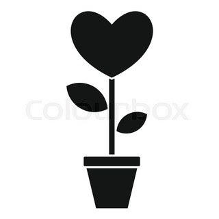 320x320 Stylized Tree In Cute Flower Pot. Topiary With Heart Made