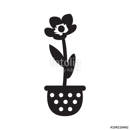 500x500 Cute Flower On A Pot Silhouette Stock Image And Royalty Free