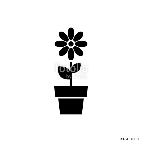 500x500 Flower In Pot Icon. Black, Minimalist Icon Isolated On White