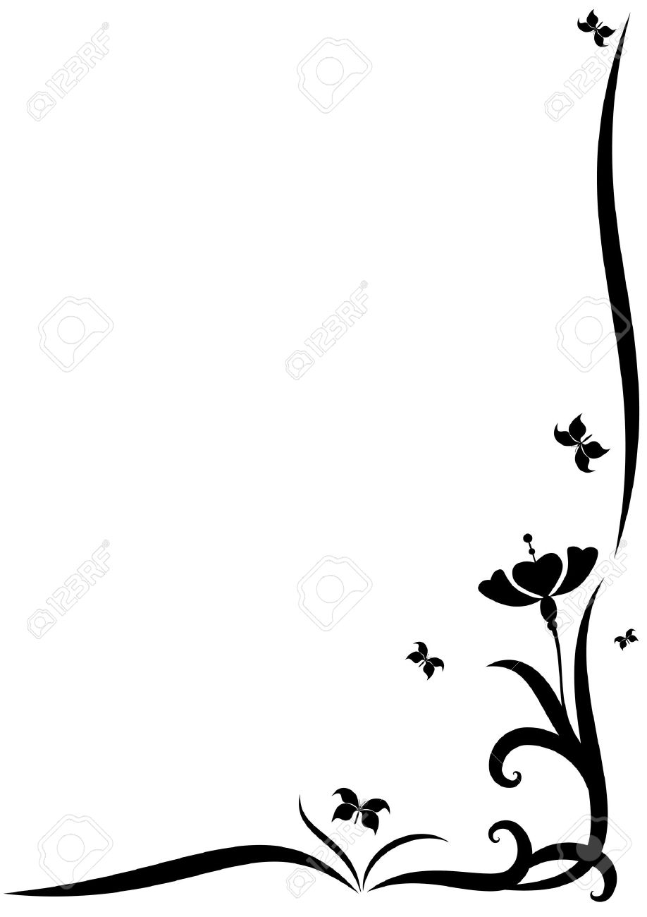 918x1300 Flower Border Design Black And White Collection 58