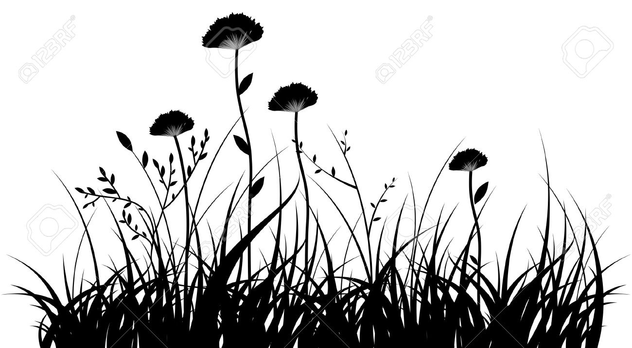 1300x717 Grass And Flowers Clipart Black And White