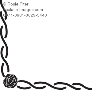 300x294 Rose With Long Stems Intertwined In This Flower Border Silhouette