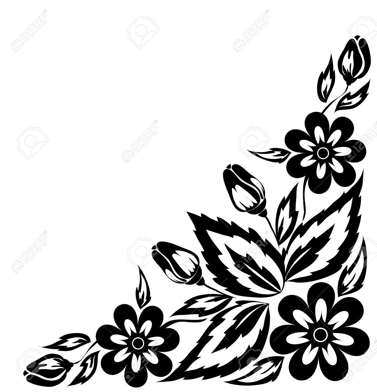 1250x1300 Floral Decorative Element Border And Patterns Vector