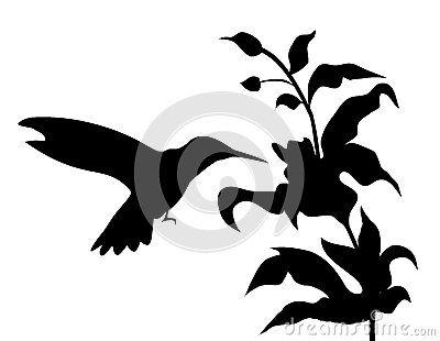 400x310 Hummingbird And Flowers Silhouette Vector Clip Art