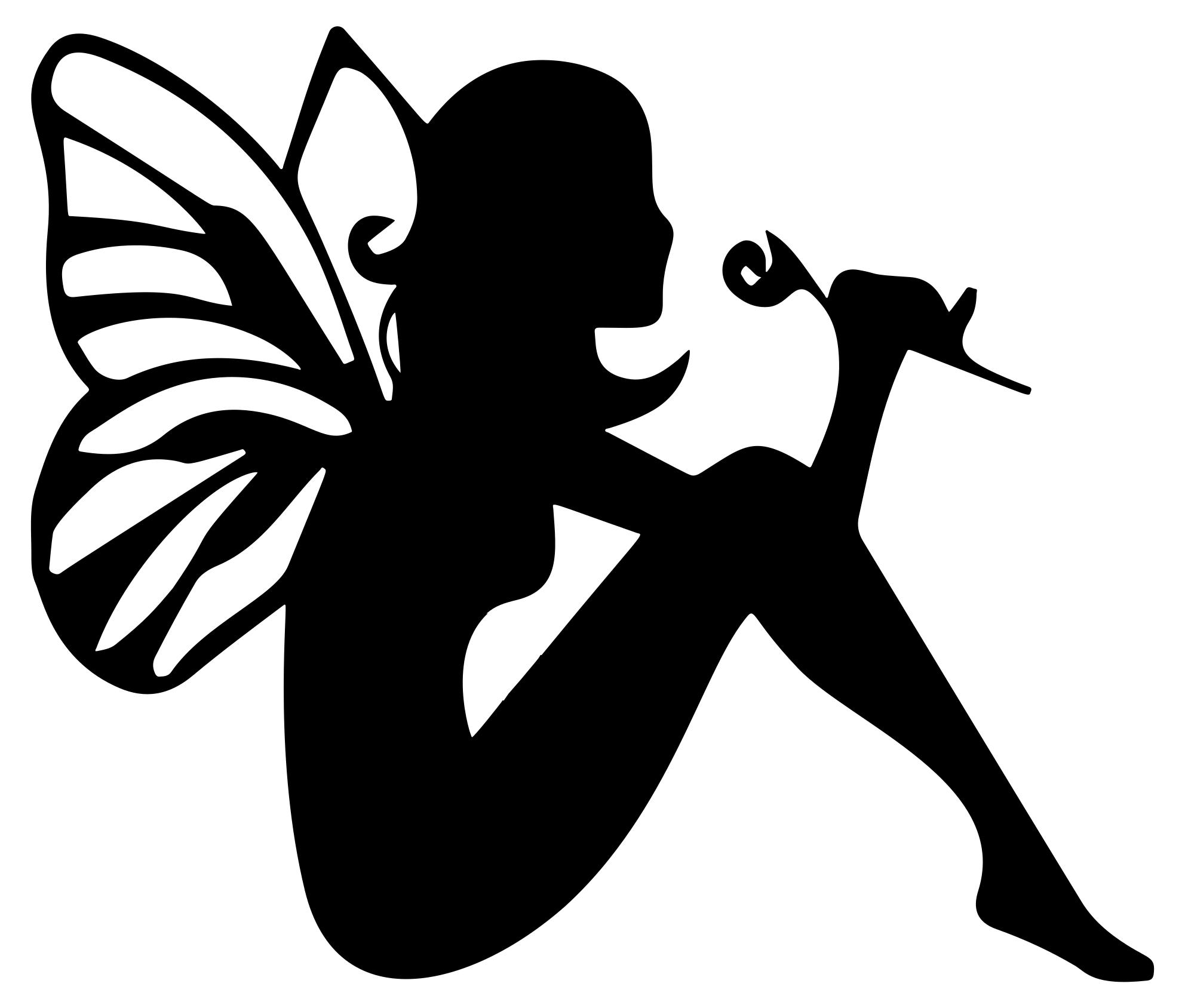 1984x1688 Fairy Smelling Flower Silhouette Clipart