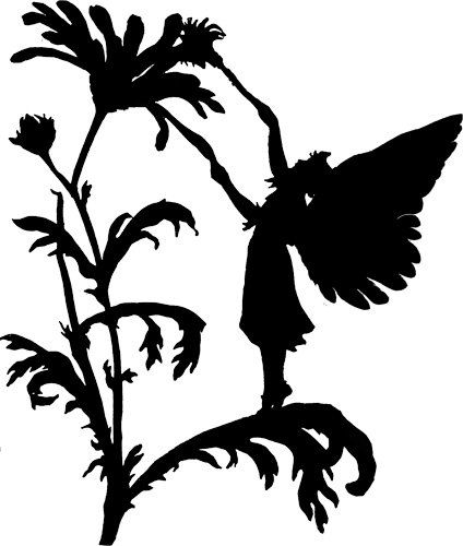 424x500 Fairy Man Flower Silhouette Printable Art Garden Digital Graphics