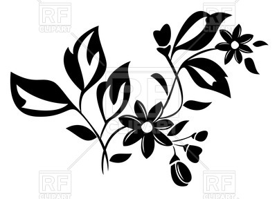 400x288 Silhouette Of Flower With Leaves Royalty Free Vector Clip Art
