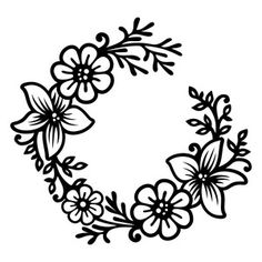 236x236 Floral Wreath Silhouette Design, Silhouettes And Floral Wreath