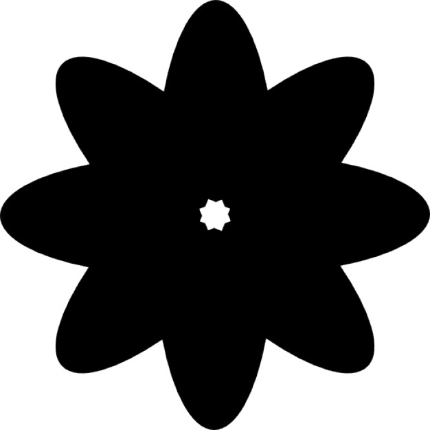 626x626 Flower Silhouette With Multiple Petals Icons Free Download
