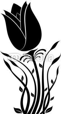 217x400 Flower Silhouette Vector Stencil Flower Silhouette