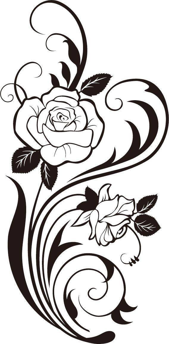 568x1157 Rose Vine Silhouette Svg,