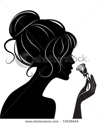394x470 Free Silhouette Clipart Of Flowers Up, Smelling A Rose,