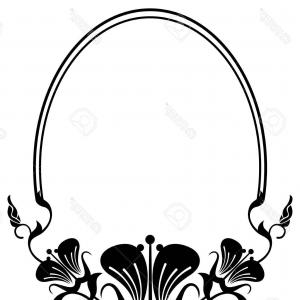 300x300 Photostock Vector Black And White Oval Frame With Abstract Flowers
