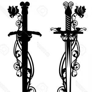 300x300 Stock Illustration Sword Set Design Collection Weapon Black White