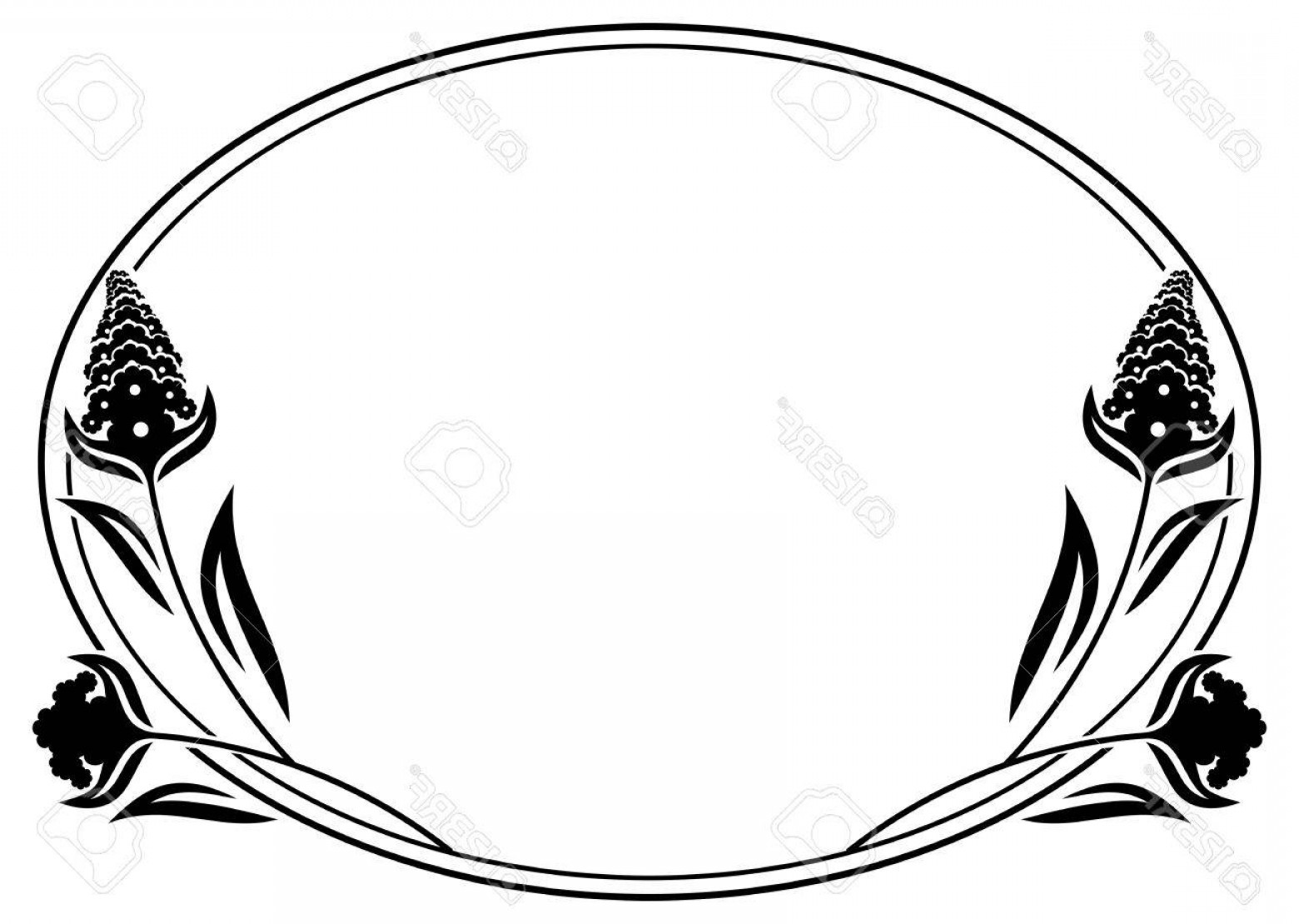 1560x1110 Western Oval Border Vector Black And White Shopatcloth