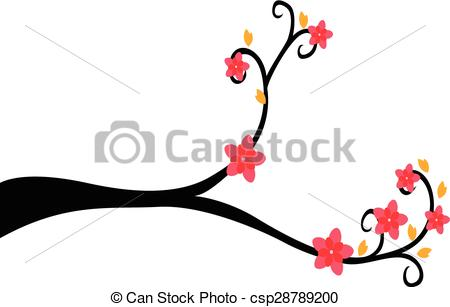 450x307 Decorative Branch Tree Silhouette With Red Flower And Yellow