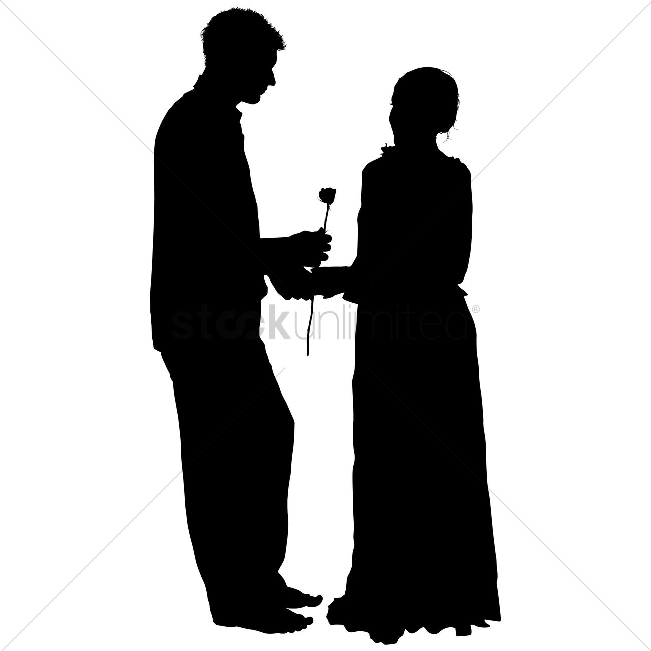 1300x1300 Silhouette Of A Man Giving A Woman Flower Vector Image