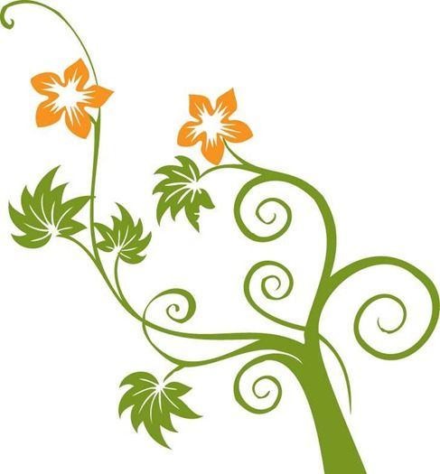 487x525 Flowers And Swirls Vector Graphic Preview Silhouettes Flourish