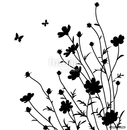 490x500 Summer Garden. Flowers Silhouette Stock Image And Royalty Free