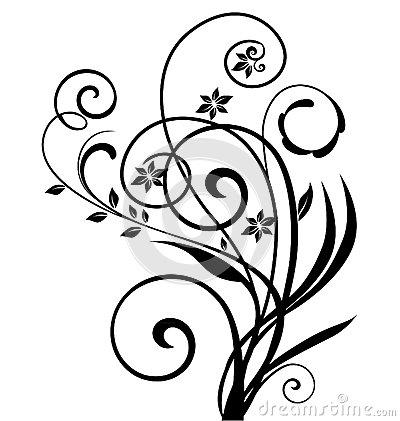 400x421 Swirly Floral Design Silhouettes Flourish Flower Silhouettes