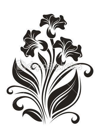 337x449 Flores Ornamentales Stencil Stenciling