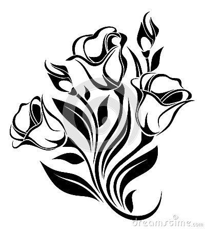 400x446 Black Silhouette Of Flowers Ornament. Vector. By Naddiya, Via