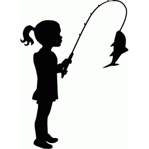 300x300 Fishing. Silhouette Of Woman In Fishing Vector. Clipart Man