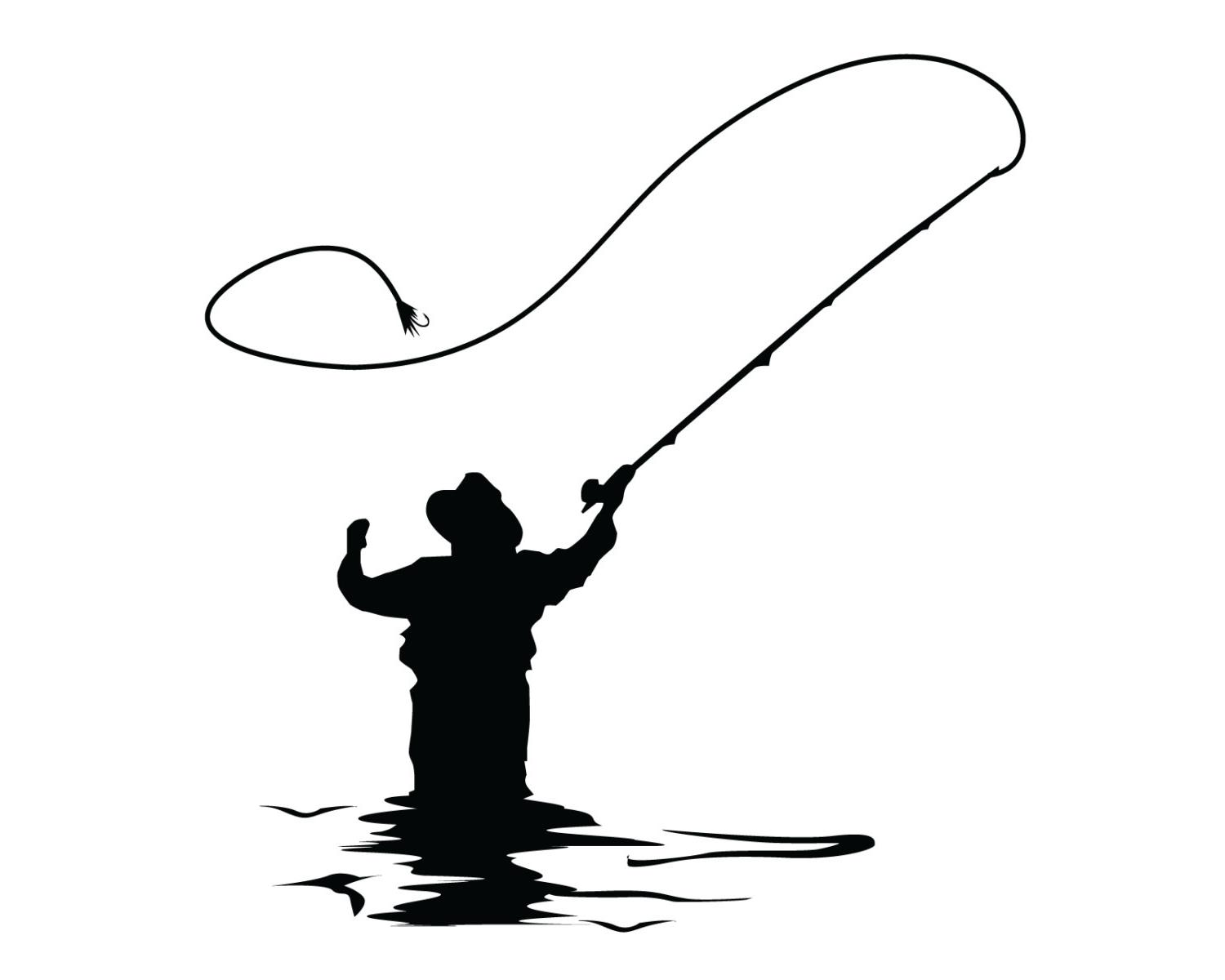 1500x1200 Fly Fishing Clip Art Fly Fisherman Silhouette Vector Id154254952