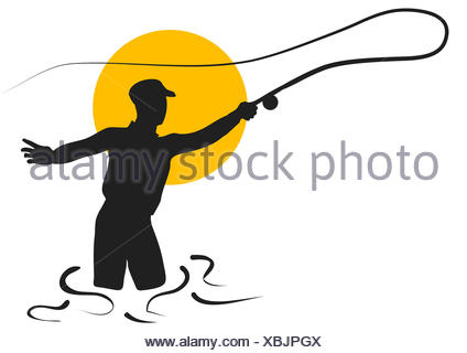 424x320 Fly Fishing. Silhouette Of Man Isolated On White Background Stock
