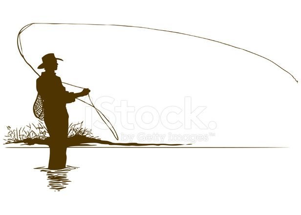 Fly Fishing Silhouette Image