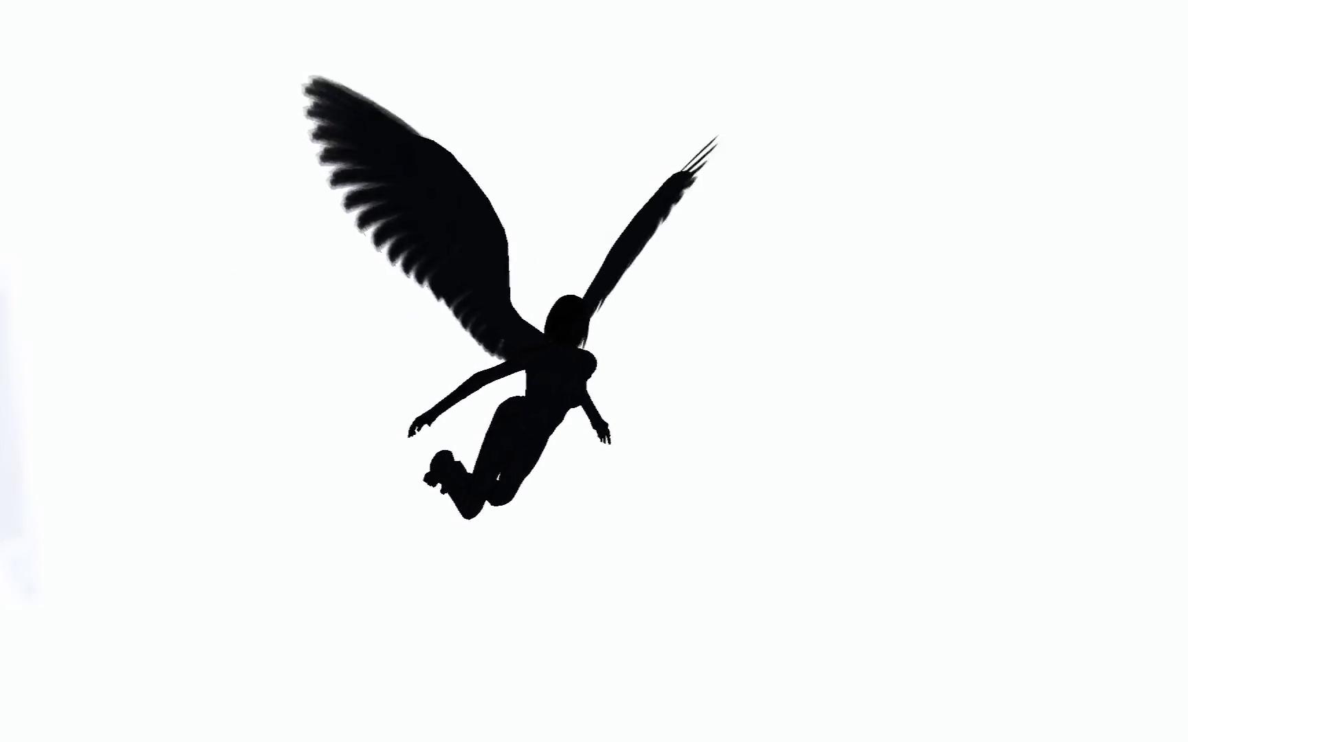 1920x1080 Female Angel Silhouette Flying Across Screen Motion Background