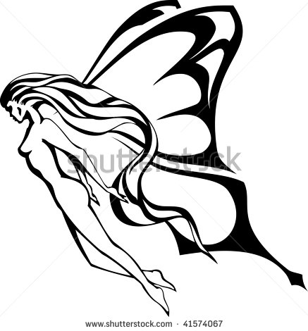 437x470 Flying Angel Silhouette Clipart