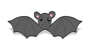 300x167 Flying Bat Silhouette Royalty Free Stock Image