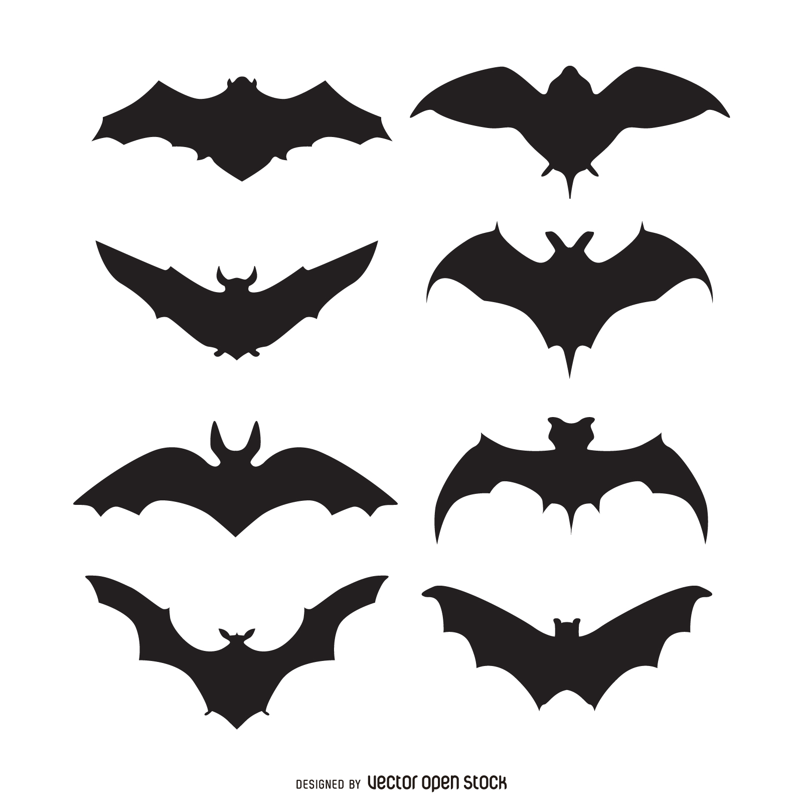 1601x1600 Set Of 8 Bat Silhouettes. Multiple Styles And Shapes To Choose
