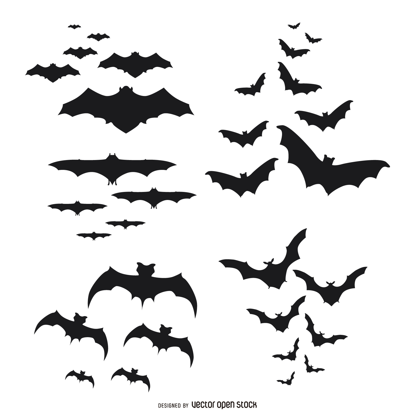 1601x1600 Bats Silhouettes Flying Set