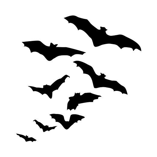 522x522 Silhouette Of Flock Flying Bats Halloween Decor