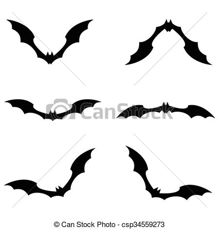 450x470 Set Of Bats Flying Black Color On White Background. Vector