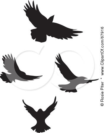355x450 Black Fancy Flying Bird Silhouette Clip Art Tattoo Picture