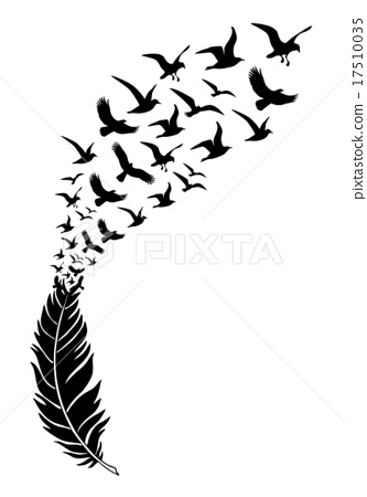333x450 Feathers With Free Flying Birds, Vector